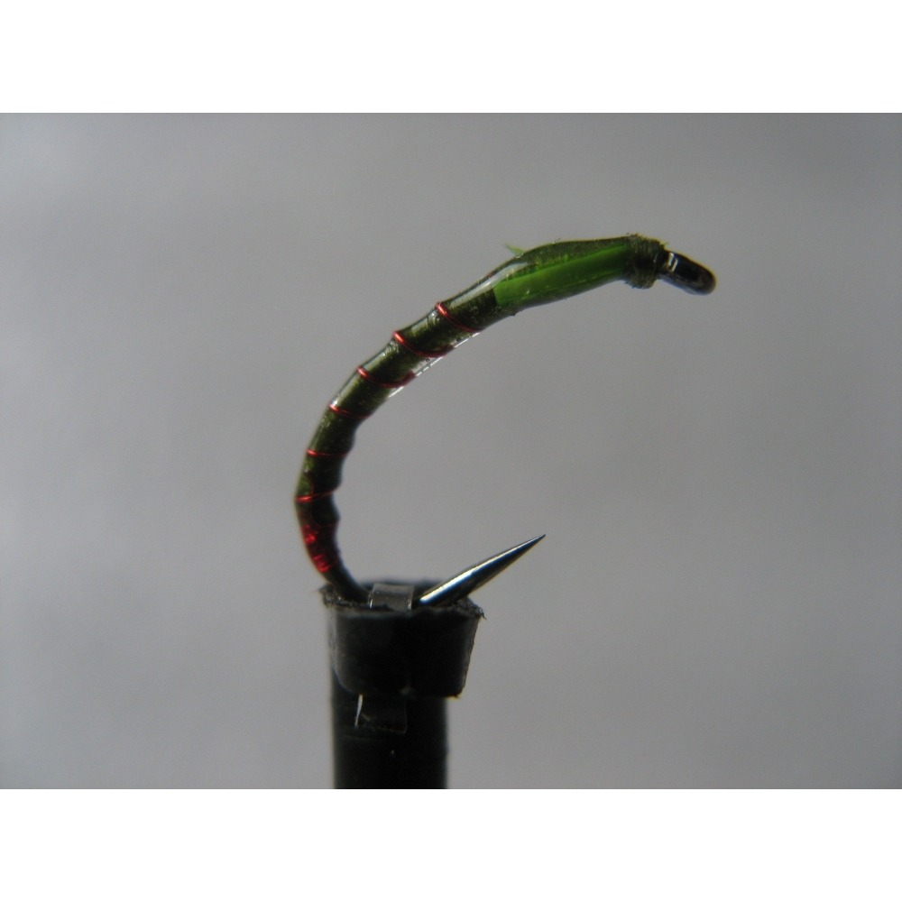 Barbless Olive Red Butt Buzzer Size 12