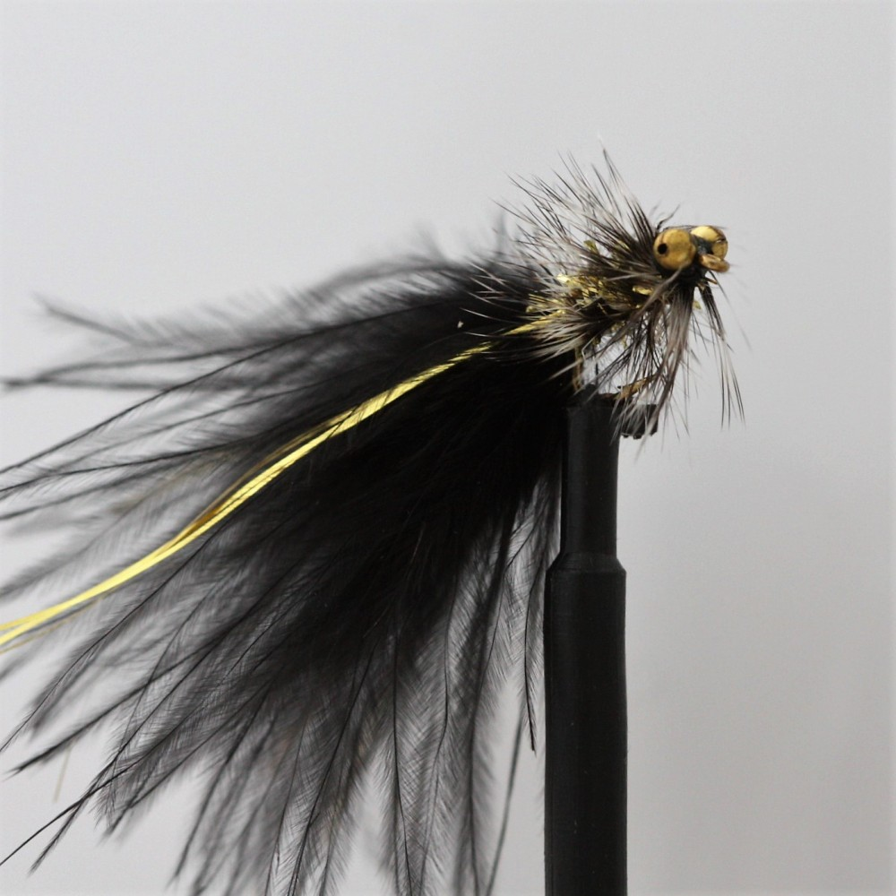 available 3 x GOLD HEAD ALL BLACK/'S CATS WHISKER LONG SHANK LURES  sizes 10,12