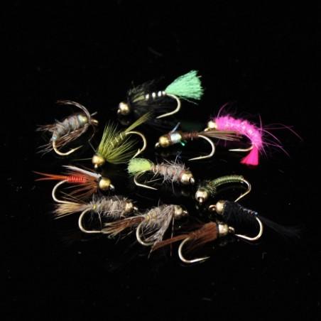 Orange Cheeks Size 16 Holographic Cormorant Set of 3 Fly Fishing Flies Fry